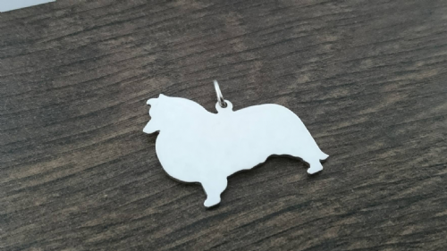 Shetland sheepdog Sheltie charm solid sterling silver Handmade in the Uk